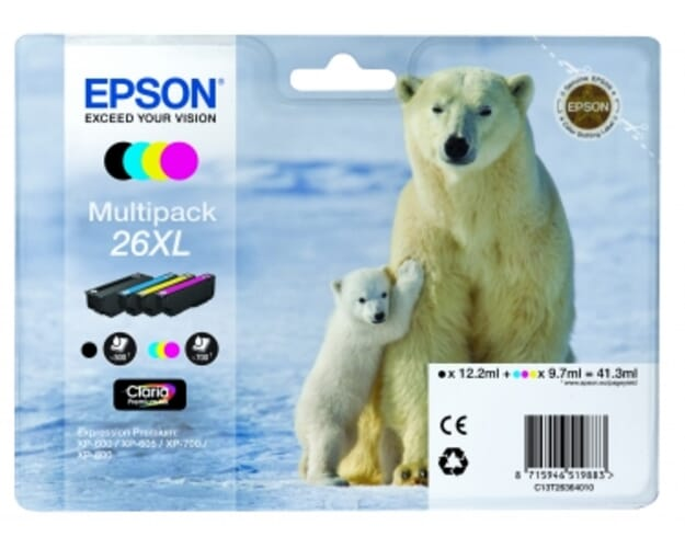 Epson 26XL / T2636 Zwart en Kleur (4-Pak) (Origineel)