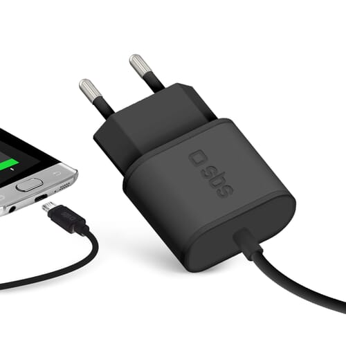SBS Mobile Thuislader Micro USB 2.1A  - Zwart