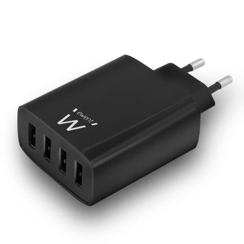 Ewent 4-Poorts USB A Thuislader 5.4A - Zwart