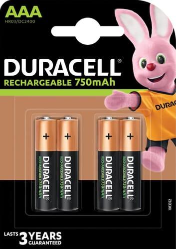 Duracell Oplaadbare HR03 NiMH AAA 750mAh 4 Stuks Blister