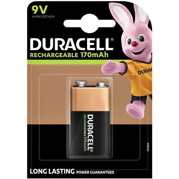 Duracell Oplaadbare 6HR61 NiMH 9V Blok 170mAh 1 Stuk Blister