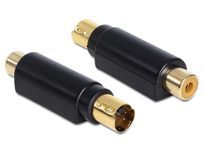 Delock Adapter S-Video mini DIN male 4 pole > 1 x RCA female