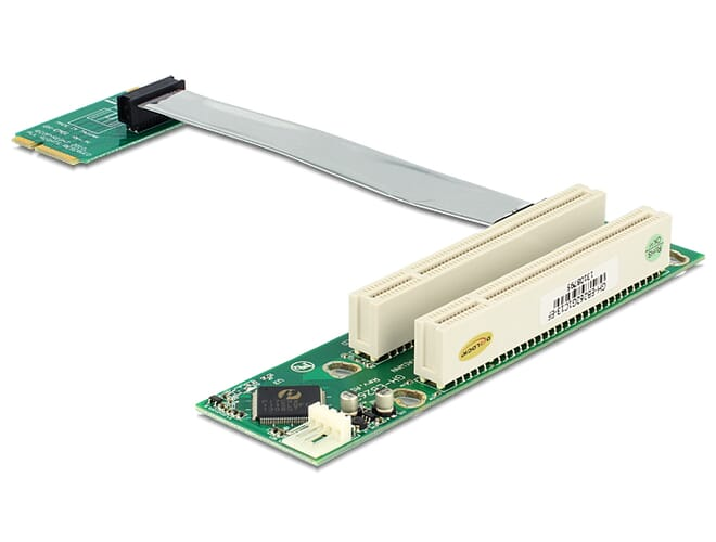 Delock Riser Card Mini PCI Express > 2 x PCI 32 Bit 5 V with