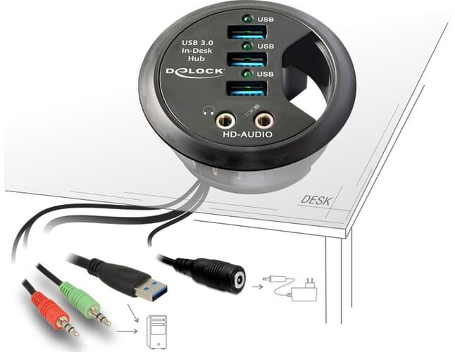 Delock In-Desk Hub 3 Port USB 3.0 + HD-Audio Ports