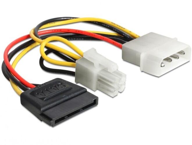 Delock Cable power Molex 4 pin male > 4 x 2 pin fan