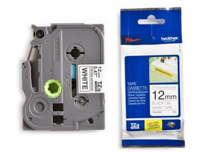 Brother TZe-S231 extra klevend tape zwart op wit 12 mm