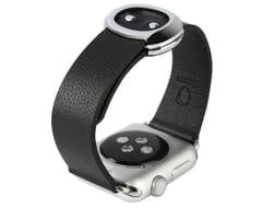 Bracelet de montre en cuir avec boucle dorée 38mm (noir)
