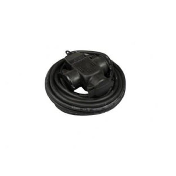 Blu-Basic Stekkerdoos 5 meter 3-voudig zwart Neopreen H07