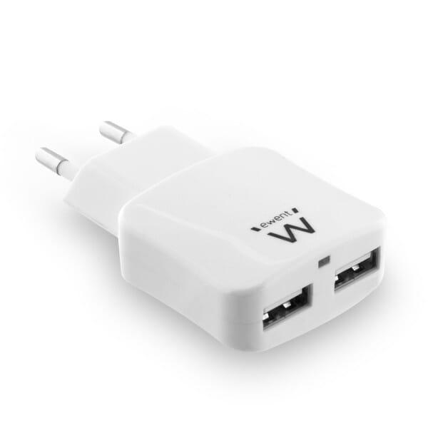 Ewent 2-Poorts Smart USB Lader 2.4A - Wit