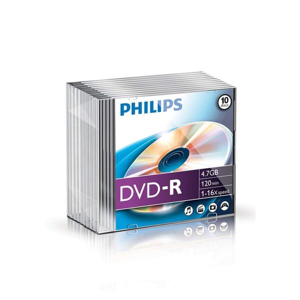 Philips DVD-R 16-Speed 4.7GB 10 Stuks Slim Jewel Case voor Toshiba Satellite L670D-120