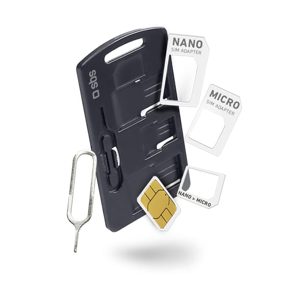 SBS Mobile Sim/Nano Sim/Micro Sim Adapter Kit - Zwart/Wit