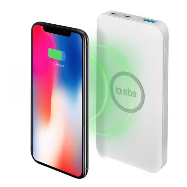 SBS Mobile QI-Draadloze Powerbank 5000 mAh 5W - Wit voor Apple iPhone 6 Plus
