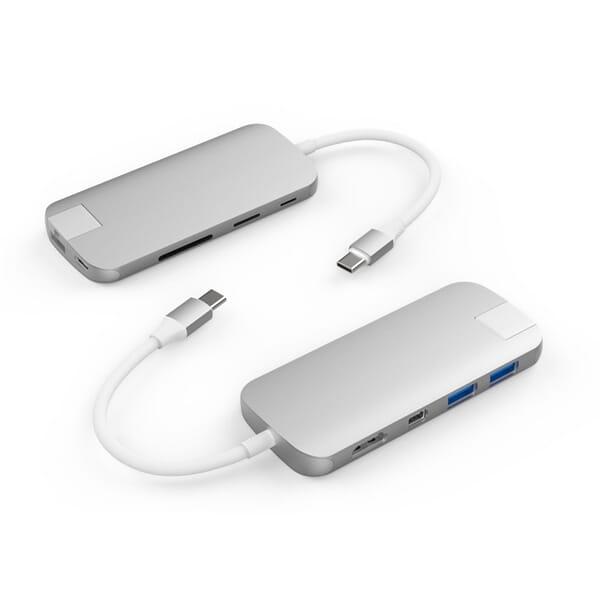 Hyper Slim 8-in-1 Hub USB-C - Zilver