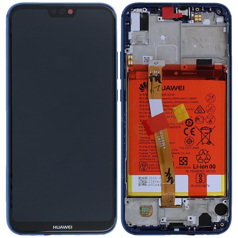 Huawei P20 Lite Bildschirm Assembly inklusiv Rahmen/Akku   Blau ...