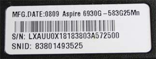Acer Modelnummers op label onderzijde