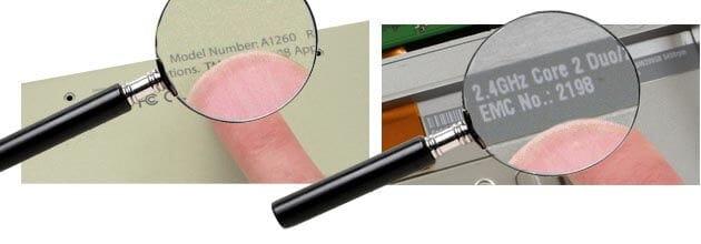 Apple model nummer in batterijcompartiment