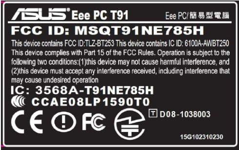 Asus Eee PC T91 model label
